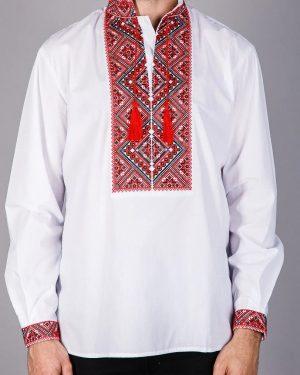 Мужская вышиванка с красной вышивкой