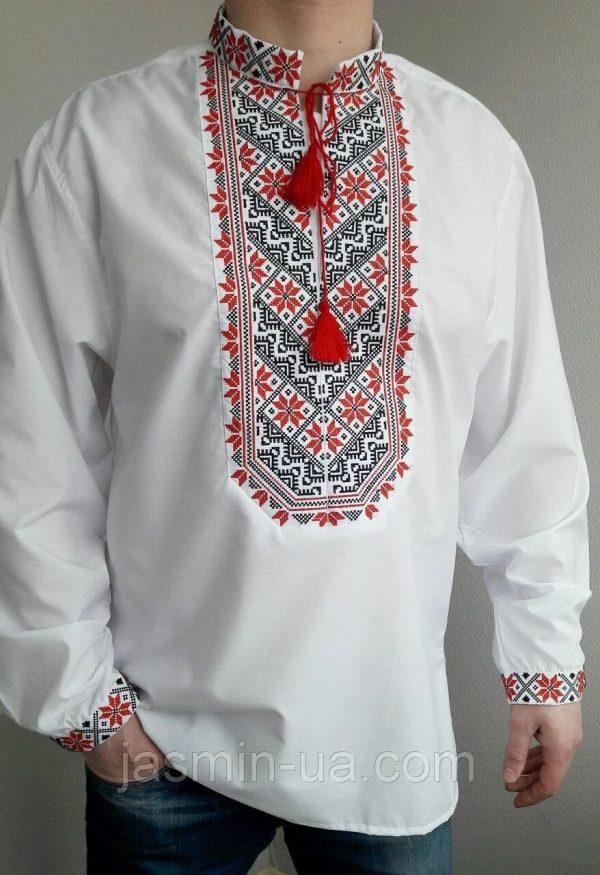 Качественная мужская вышиванка с красной вышивкой